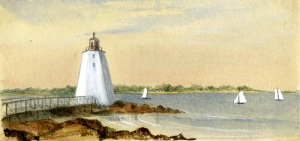 """Lighthouse, New Castle"", by Sarah Haven Foster, from the Views of Portsmouth Album.  Collection of Portsmouth Public Library."